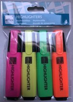 Markeerstiften, Arceerstiften, Highlighters 4 stuks