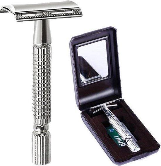 BALI Dubbelzijdig Scheermes | Inclusief 5 Titanium Mesjes |Set |  Zilver | Double Edge Razer Blade | Classic | Safe | Scheren | DubbelzijdigeMesje | Gezichtshaar | Klassiek scheermes | Safety razer | Classic razer