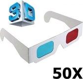 50 Stuks - 3D Red-Cyan Papieren Bril