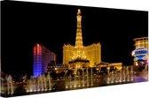 Verlichte Las Vegas strip Canvas 120x80 cm - Foto print op Canvas schilderij (Wanddecoratie woonkamer / slaapkamer) / Steden Canvas Schilderijen