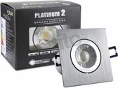 LED spot - compleet armatuur - RVS vierkant - zilver - koud wit