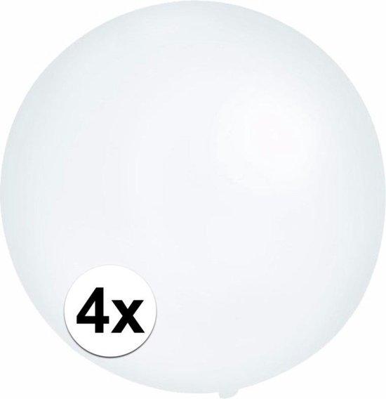 4x Grote ballonnen 60 cm transparant