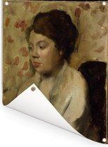 Portret van een jonge vrouw - Schilderij van Edgar Degas Tuinposter 30x40 cm - klein - Tuindoek / Buitencanvas / Schilderijen voor buiten (tuin decoratie)