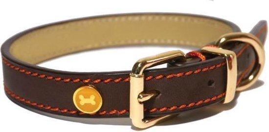Rosewood - Luxury leren halsband hond - Bruin - 3,8 x 56-66 cm
