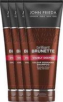 4x John Frieda Brilliant Brunette Visibly Deeper Colour Shampoo 250 ml