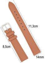 Horlogeband Kalfsleder - 14mm Aanzetmaat - Horlogebandje met Naad + Push Pin - Lichtbruin - Sarzor