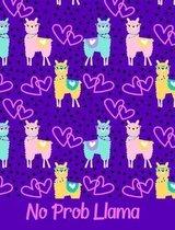 No Prob Llama Purple Pink Composition Notebook