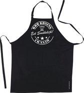 Mijncadeautje Schort - BBQ Koning - met voornaam - eet smakelijk - mooie en exclusieve keukenschort - zwart