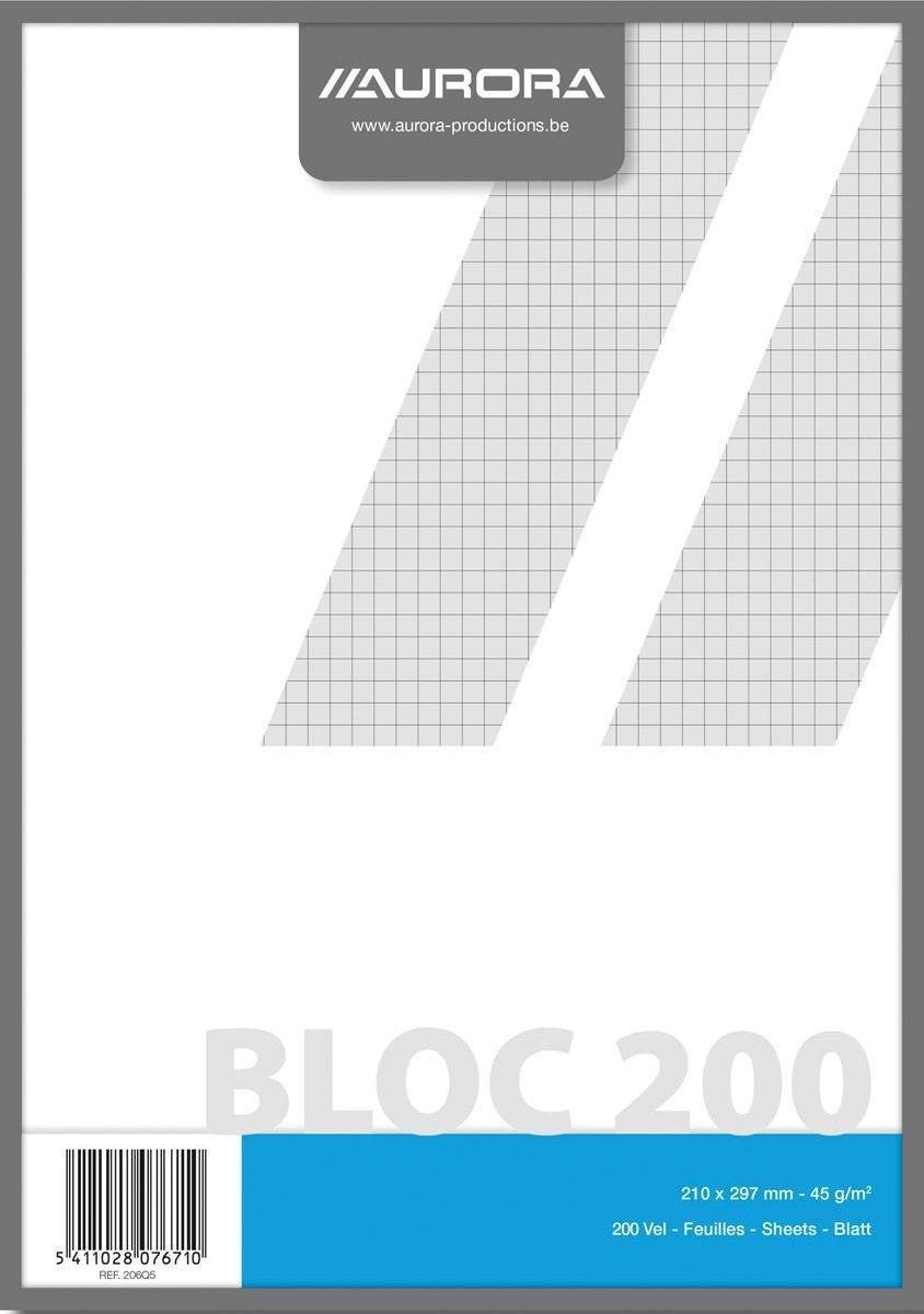 Kladblok formaat 21 x 297 cm (A4) geruit 5 mm
