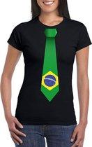 Zwart t-shirt met Brazilie vlag stropdas dames 2XL
