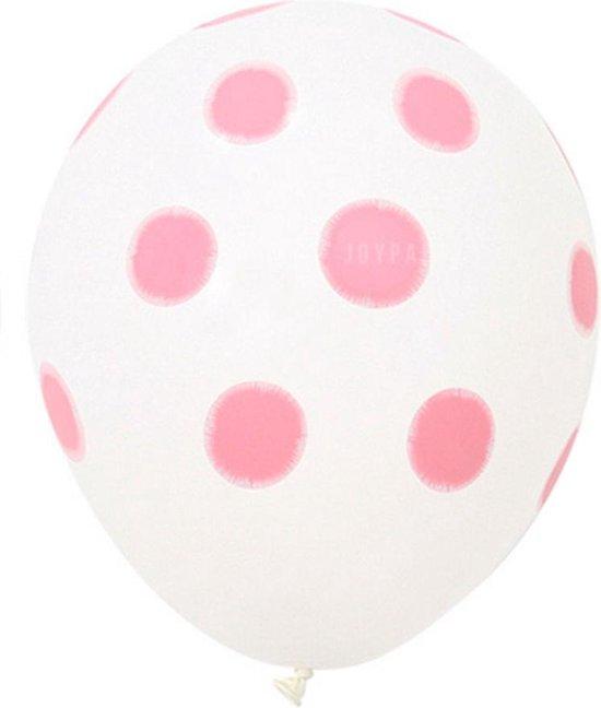 Ballonnen dots wit/roze 8 stuks 30 cm