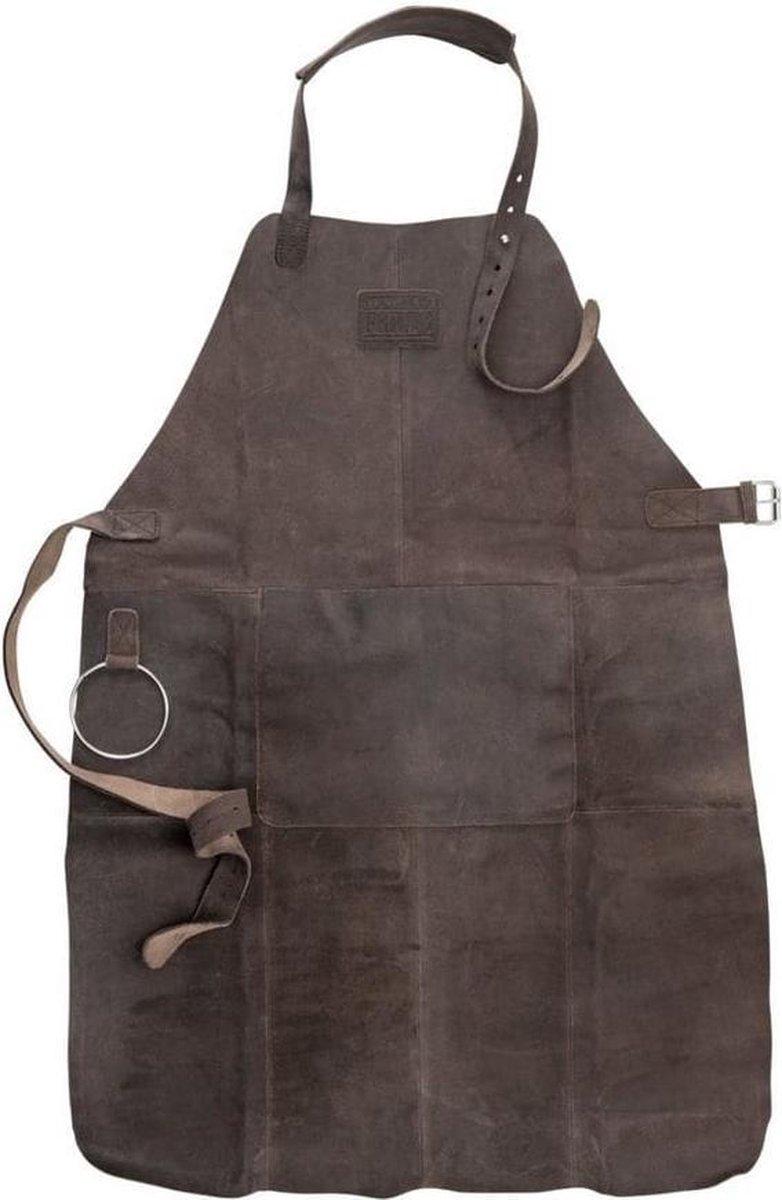 Lederen BBQ Schort - Schort met voorvak, verstelbare nekband heupriem en functionele riem - donker b