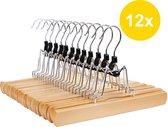 ACAZA Set van 12 Massief Houten Broek of Rok Hangers - Met Vilten Anti-Slip Bescherming binnenin - natuurlijk hout kleur