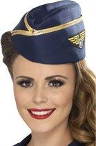 Stewardess hoedje blauw