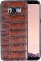 Croco Donker Bruin hard case hoesje voor Samsung Galaxy S8