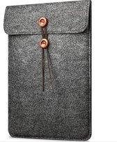 """Vilten Soft Sleeve Voor de Apple Macbook Air / Pro (Retina) 15 Inch - 15.4"""" Laptop Case - Bescherming Cover Hoes - Zwart Grijs"""