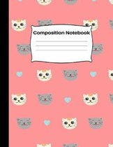 Composition Notebook: Funny Cat Face Pattern Wide Ruled Paper Journal - Novelty Kitty Cat Wide Blank Lined Workbook for Teens Kids Students