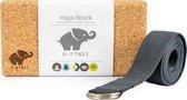 A-FTNSS Yoga Blok Set | 100% Portugees kurk | 1 Yoga blok & Yoga riem (22.7x12x7.5 cm)