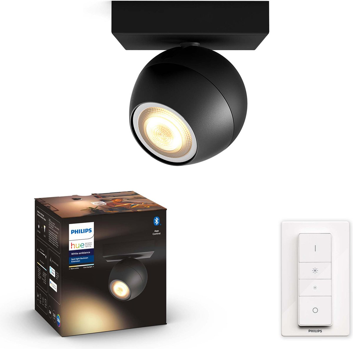 Philips Hue - BUCKRAM single spot black 1x5.5W 230V - White Ambiance - Bluetooth Dimmer Included