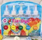 DIY 5 Kleuren Tie Dye - Complete verfset voor je kleding en textiel - Regenboogkleuren - Hoogwaardige kwaliteit - Kindvriendelijk - Incl. handschoenen en elastiekjes - DIY - Levendige Kleuren - Kleuren in de beschrijving