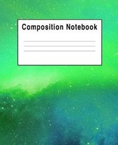 Composition Notebook: Green Space Galaxy