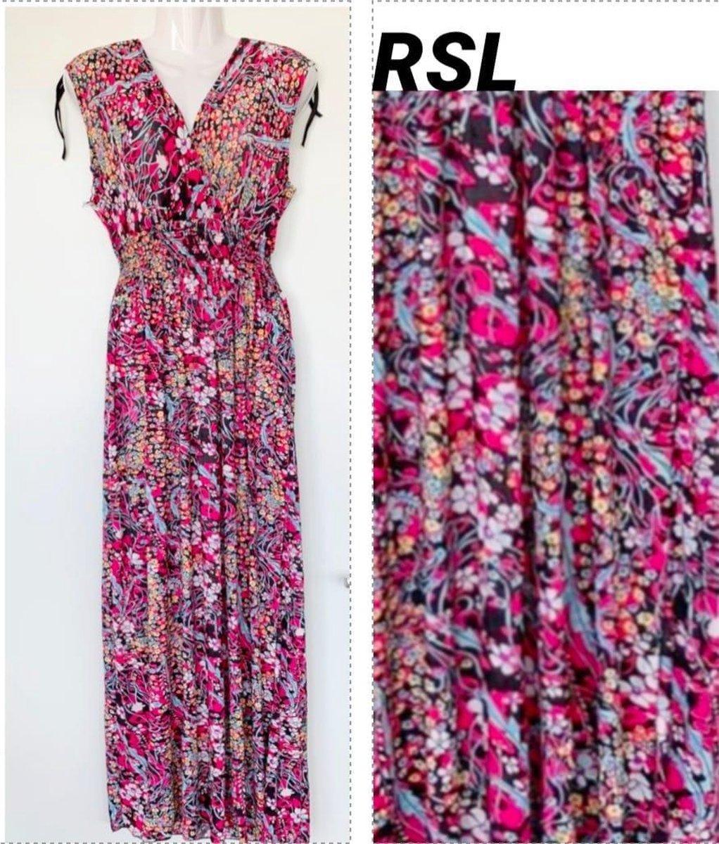 Dames jurk met bloemenprint one size roze/zwart