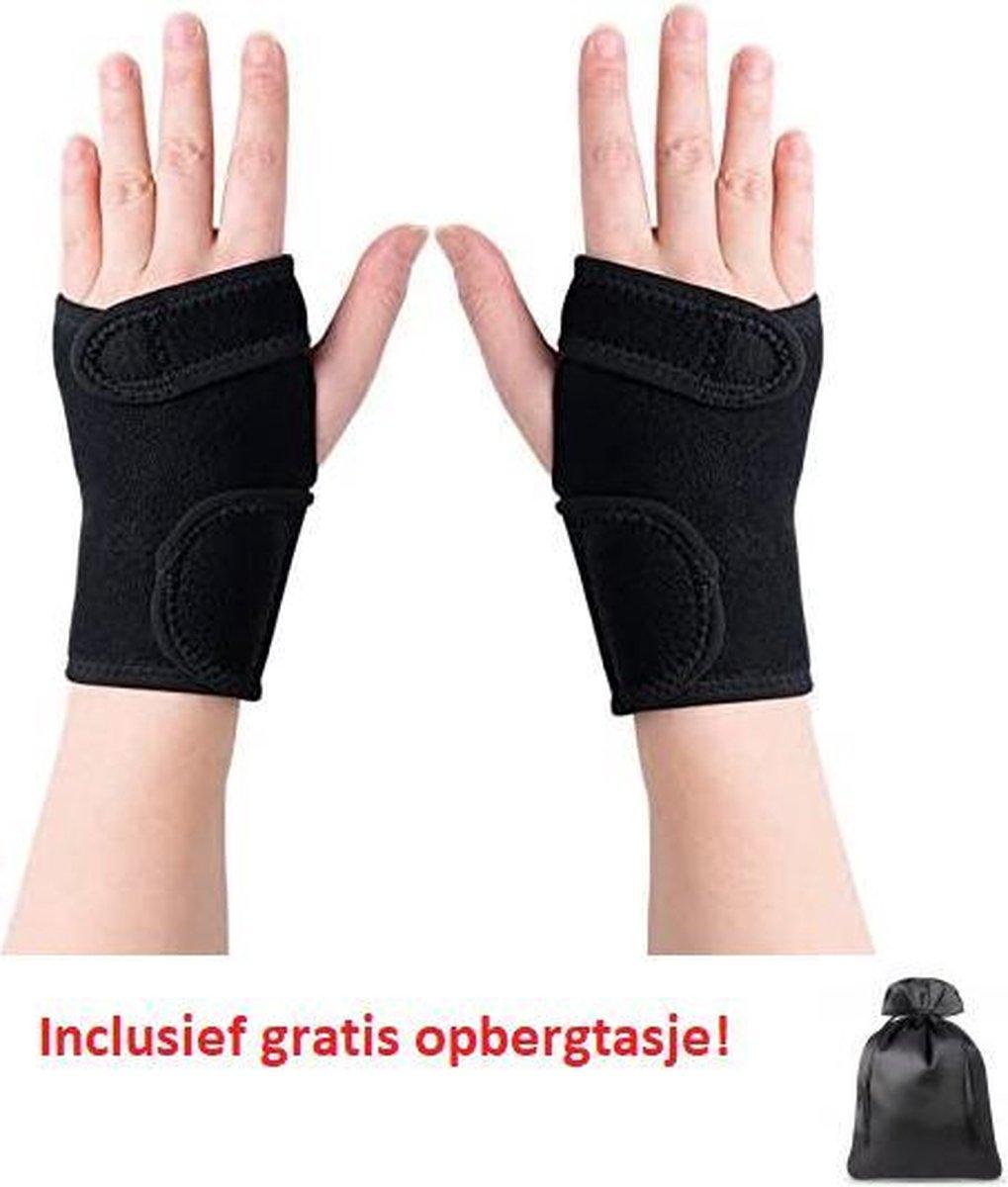 Premium Polsbrace Links en Rechts Zwart One Size - Neopreen Polsbandage - Polssteun voor Carpale Tun