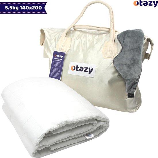 Otazy Verzwaringsdeken voor kinderen 5,5 kg - 140 x 200 cm - Ecru - Organisch Katoen - Weighted blanket - Voor lichaamsgewicht tussen 45 en 55 kg. Mét draagtas en verzwaringsmasker!