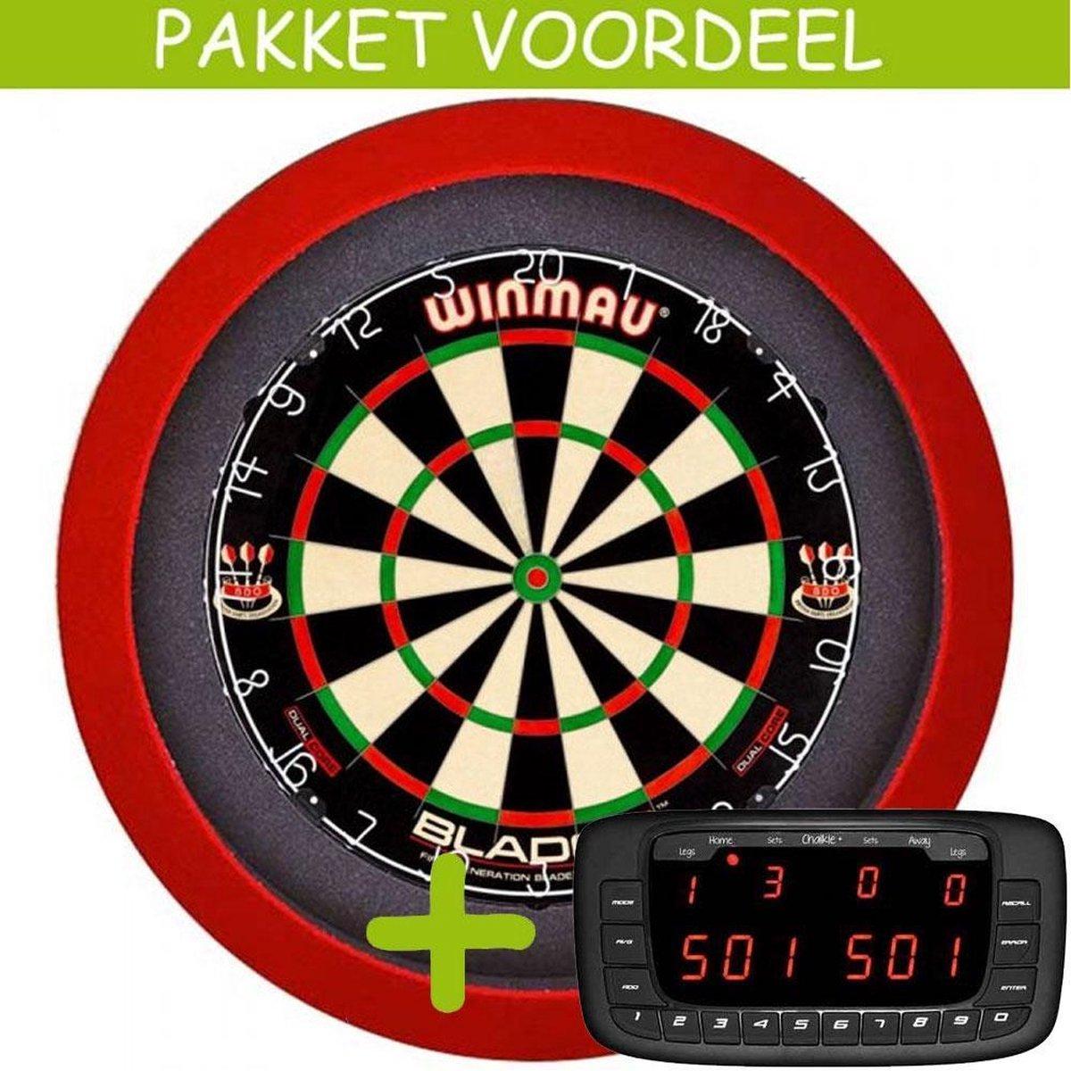 Elektronisch Dart Scorebord VoordeelPakket (Chalkie + ) - Dual Core - Dartbordverlichting Basic (Rood)