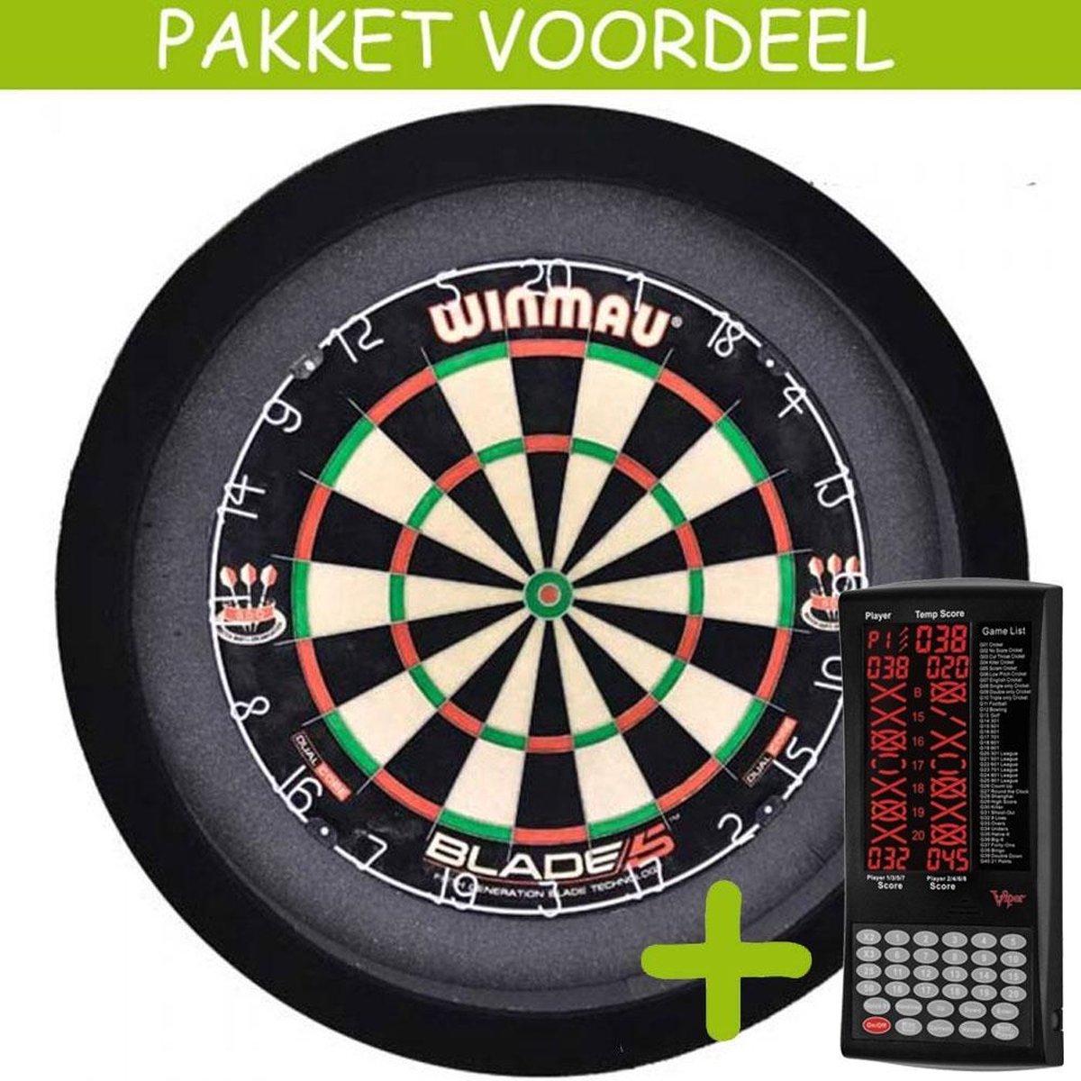 Elektronisch Dart Scorebord VoordeelPakket (Viper ) - Blade 5 - Dartbordverlichting Basic (Zwart)