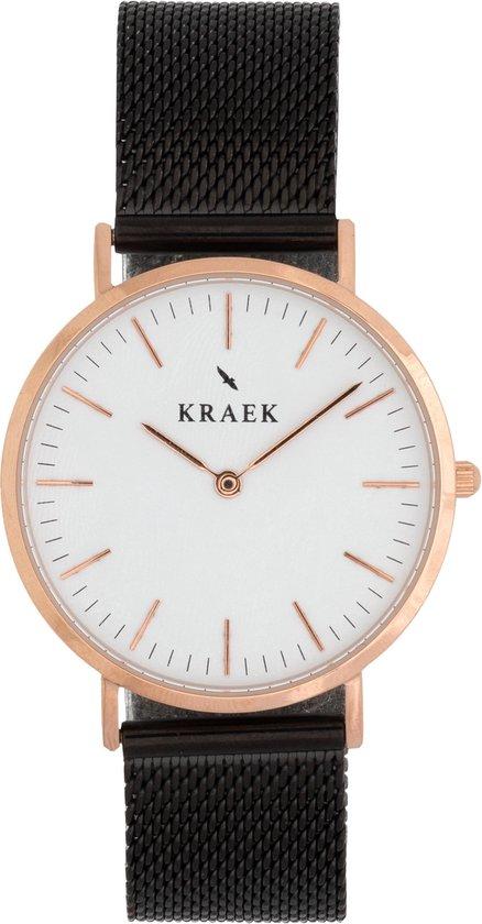 KRAEK Drora Rosé Goud Wit 36 mm   Dames Horloge   Zwart Mesh horlogebandje   Met Pushpin