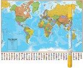 Grote wereldkaart B1,30mxH0,96m lamineert met vlaggen van alle landen