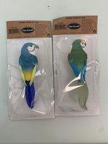 2 vogels met veren op clip