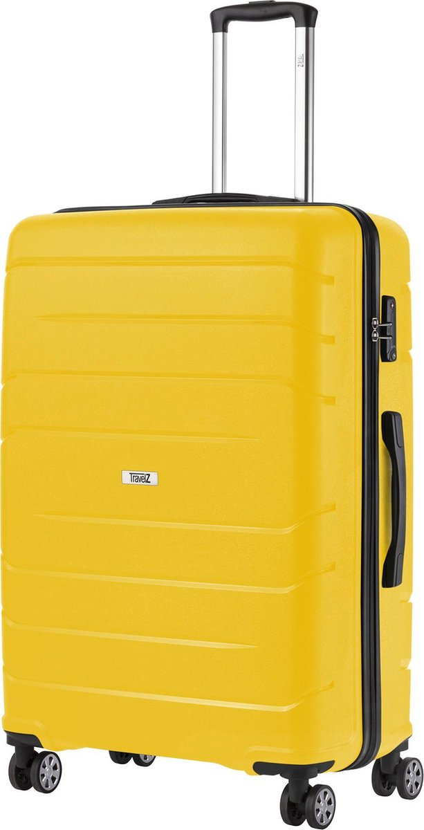 TravelZ Big Bars Reiskoffer - 78cm Koffer met TSA-slot - Dubbele wielen - Geel