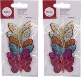 12x stuks gekleurde decoratie vlinders 5 cm op prikkers/instekers - zomer/lente feest versieringen