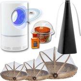Anti-Vliegen-Voordeelpakket | Muggenlamp LED met aanzuiging | 3 x Vliegenkapjes bamboe | Vliegenverjager voor op tafel | Fruitvliegjesval | Merk Flystopper