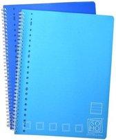 Verhaak 2-pak Collegeblok - Lijn - A4 Formaat - 23 gaats - Kunststof Kaft - SOHO - Blauw