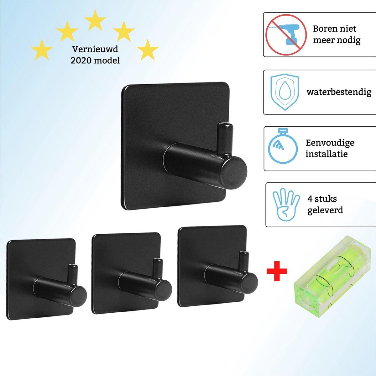 Handdoekhaakjes - 5 Jaar Garantie - Geschikt voor Badkamer/Keuken/Toilet - Zelfklevend - RVS - Mat Zwart - Industrieel - Stijlvol - Handdoekhouder - Ophanghaakjes - Handdoekrek - Handdoek Haakjes -
