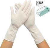 H&S PROTECTOR - Extra lang Nitril handschoenen - 305mm lang - Wegwerp handschoenen - Wit - M - Poedervrij - 100 stuks