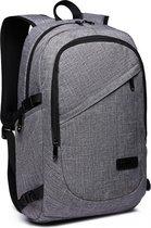 Kono Rugzak - Laptoptas 15 6 inch - Rugtas voor Mannen/Vrouwen - Schooltas met USB poort- Tas voor School, Werk en Reizen - Grijs (E6715 GY)