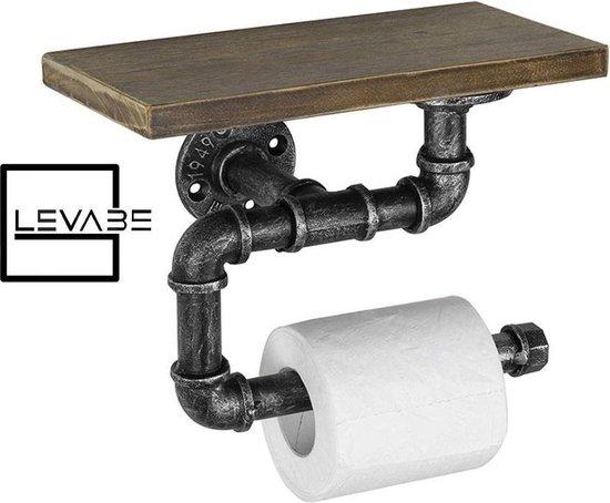 Levabe® Industriële Toiletrol houder met accessoires plank – 30 CM LANG - Wc-rol houder - - Retro - Robuust -
