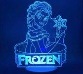 Nachtlampje voor meisje Frozen. Elsa van Frozen nachtlamp. 3D illusie Nachtlamp/Tafelnachtlamp 7 Kleuren