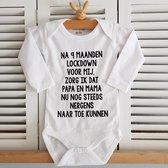 Baby Rompertje met tekst aankondiging bekendmaking zwangerschap cadeau voor de liefste aanstaande opa en oma oom tante papa mama broer zus lockdown corona