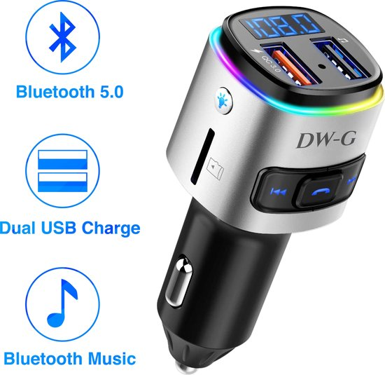 DW-G Bluetooth FM Transmitter - Auto Lader - Carkit - Handsfree - MP3 - USB - SD Kaart - Snel Lader - Bluetooth Audio Receiver