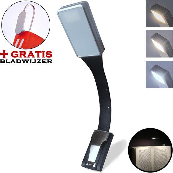 ® LED Leeslamp Oplaadbaar & Dimbaar met gratis Bladwijzer - Leeslamp met klem - Boek Leeslamp - Leeslampje Bed - Klemlamp - Boeklamp - Leeslampje met klem - Zwart en Lichtgrijs