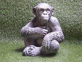 Tuinbeeld aap gorilla gepatineerd - Decoratie voor binnen/buiten - Beton