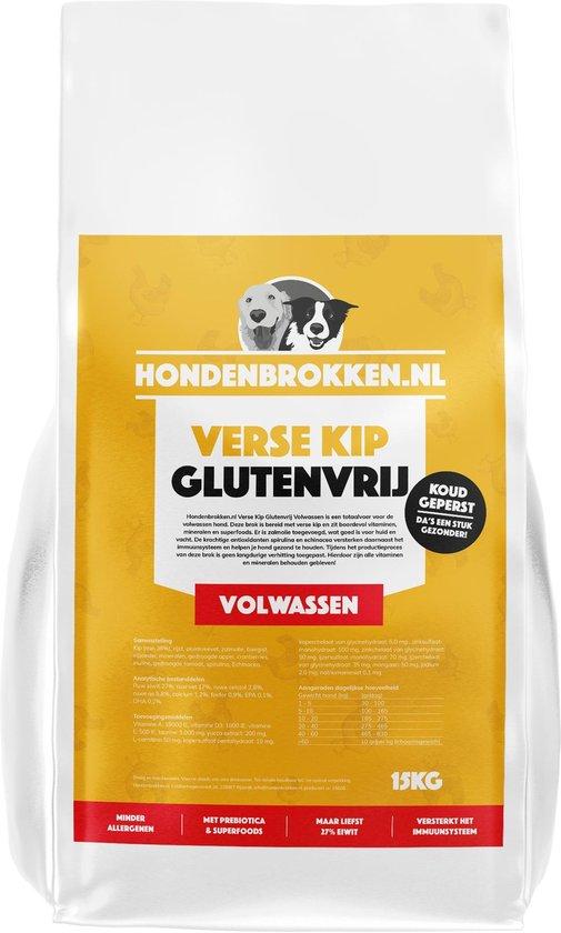Hondenbrokken.nl HondenbrokkVerse Kip Glutenvrij - Volwassen - Hondenbrokken vers vlees - 15KG