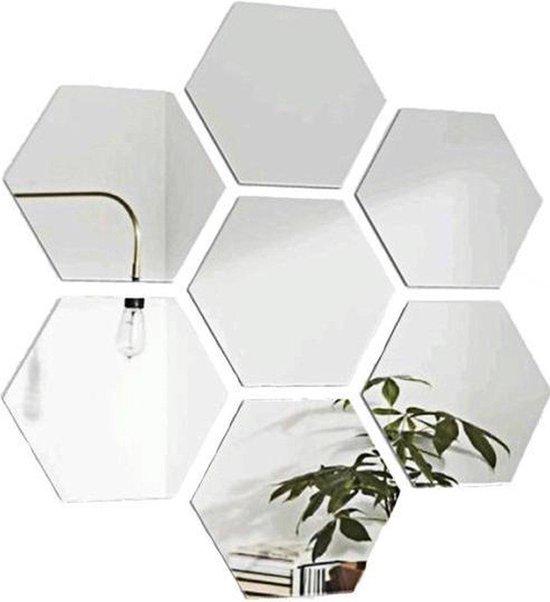 Hexagon wandspiegel - Woonkamer decoratie - Zeshoek wand spiegel set - 12 stuks - 126 x 110 x 63 mm