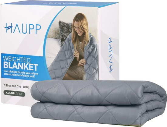 Haupp verzwaringsdeken - Queen Size Weighted Blanket - 8 kg - 150 x 200 cm - Verzwaard deken - Kalmeringsdeken - Slaapproblemen