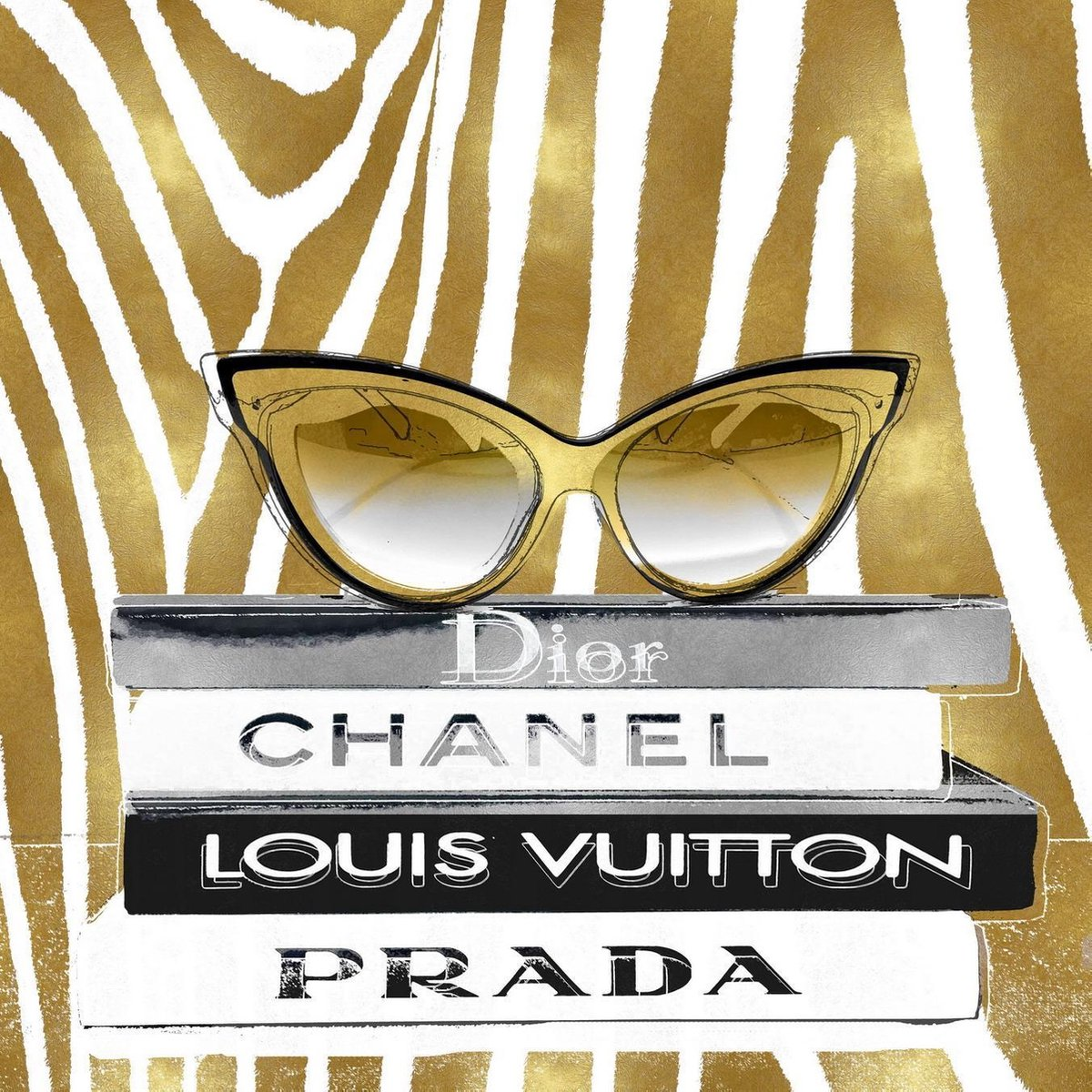 60 x 80 cm - glasschilderij met metaalfolie - Chanel met zebra print - schilderij fotokunst - verwerkt met goudfolie